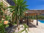 pool terrace and pergola
