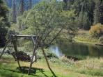 Swings and chairs all over the property to relax in