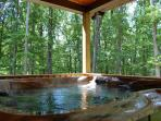 Hot Tub on covered, wrap-around deck