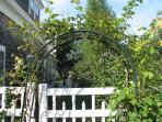garden gate entrance from street.