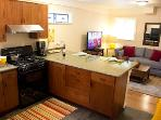 The Hungry Tortuga, open kitchen and living area