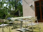 • The small terrace has an extendable glas table.