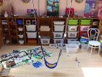 • The playroom in the 1st floor has a swivel and everything can be used.