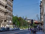 View from Újezd street, 20 minutes walk to Prague Castle