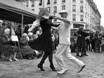 Dancing in the street in Rue Mouffetard on Sundays