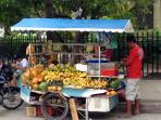Our dear fruit stand: 1 minute from the building. Terrific fruits from the Caribbean.