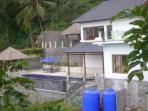 Fropntal view of Bali Villa Sartori (North Bali), perched on the mountainside