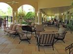 Poolside cafe & grill seating area