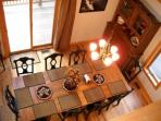 View from loft overlooking the dinning room, table will sit up to 12.