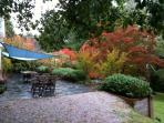 Enjoy the slate patio and BBQ. area.