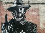 Outlaw Josey Wales mural by Alligator Mississippi artist Chris Keywood is on our building