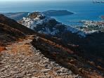 Trekking or mountainbiking to beautiful Chora (Serifos' main little town)
