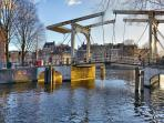 Houseboat in Heart of the city at Amsterdam canals