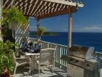 Andante's Outdoor Dining Space with Pergola for daytime shade.Dine under starlit skies; Ocean sounds