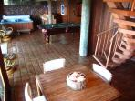 Game room with hot tub, pool table, bar and sauna