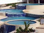 3 Waterfalls in the pool