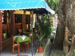 A quaint patio restaurant just outside the Playas del Coco market area