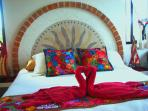 Bed and Breakfast Near Tulum - Color rooms with king bed and Mexican Textiles - AC, WiFi, SateliteTV