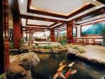 Waikiki Banyan Lobby With Koi Pond