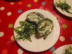 Spinach & celeriac roulade