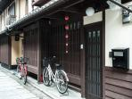 Outside Maeniiya Machiya Inn (2 bicycles available)