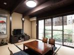 Japanese tatami living room with sunken Kotatsu