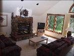 Bright Living room with view of Eagle River