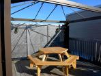 rooftop terrace: 12' x 15' with pic-nic table and BBQ