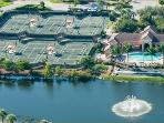 Ariel view of tennis courts and clubhouse
