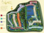 Map of Vasari showing golf course and Pienza court on the the 7th hole.