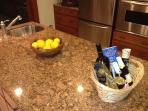 Welcome Basket of local products and Oranges and Lemons from the Yard