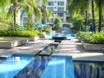 Water feature at pool terrace