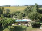 View over swimming pool