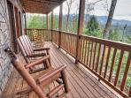 Deck from this 3 bedroom cabin in Gatlinburg TN