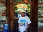 A local Volcano resident stands in front of the General Store