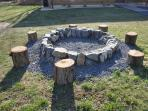 Stone firepit with unlimited wood provided free