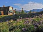 The Alpenglow Chalet is nestled amongst wildflowers and the Rocky Mountains.