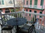 Patio set overlooking courtyard