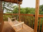 Enjoy the swing while looking at the view on the deck of Fox Run Escape located in Gatlinburg TN.