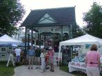 Village square bandstand, art show, summer Thursday evening free concerts, bring your own chair