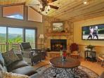 Living Room - Gas Log Fireplace - 55 inch Flat Screen Tv - Views, Views, Views!