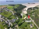 la flèche rouge indique ou se trouve le Brise Marine par rapport à l'Anse de Tréfeuntec