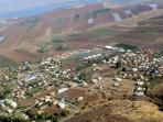 Aerial View of Yavne'el, the Valley and Lake beyond