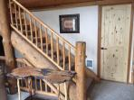 Master bedroom door and loft stairs