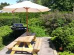 Beautiful yard with picnic table and gas bbq