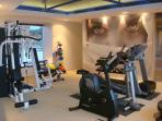 Gym, has pretty well everything. Rowers, runners, Cross trainers,bicycle,  Free weights , mats etc