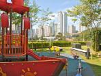 Kids playground and BBQ area