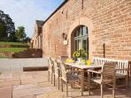 Glassonby Hall's sandstone terrace - a great place to relax after exploring in the Lake District
