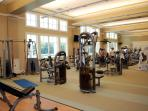 Wall-to-floor windows with a view of beautiful Lake Palmetto make work-outs FUN!