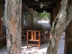 Lower patio dining.